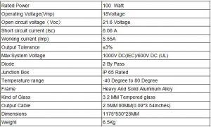 panel solar rigido 100w monocristalino 18v 12v caracteristicas tecnicas